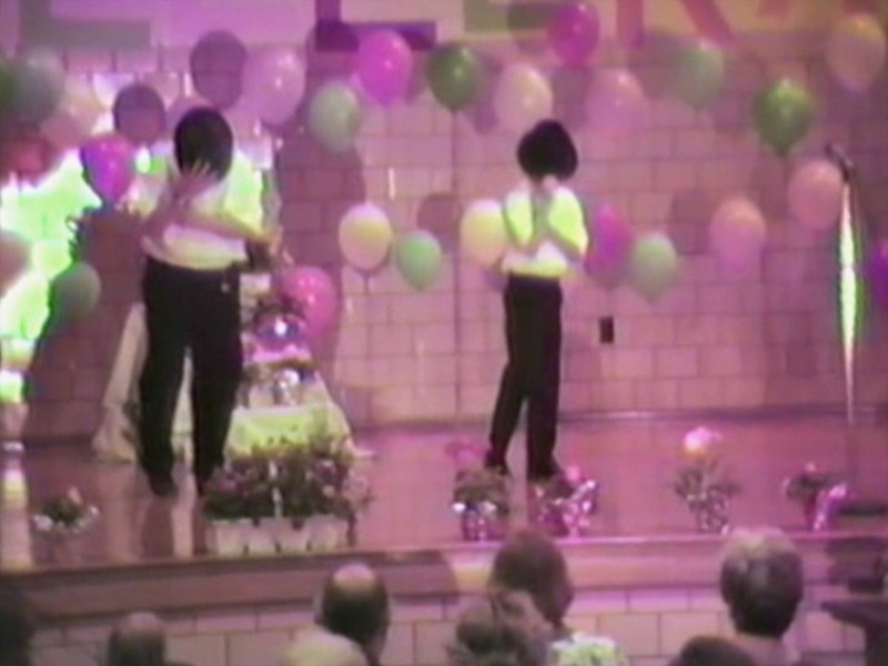 """Video Archive Clip 1996 (May) - Yaden, Jacob & Steven - After  a little bit of a rough start, Jacob (age 11) and Steven (age 8) dance the """"Bad"""" routine at the Brinkerhoff 'Celebrate' event - Brinkerhoff Elementary School - Mansfield, OH - Clogging Memoirs Series (7 min 42 sec)"""