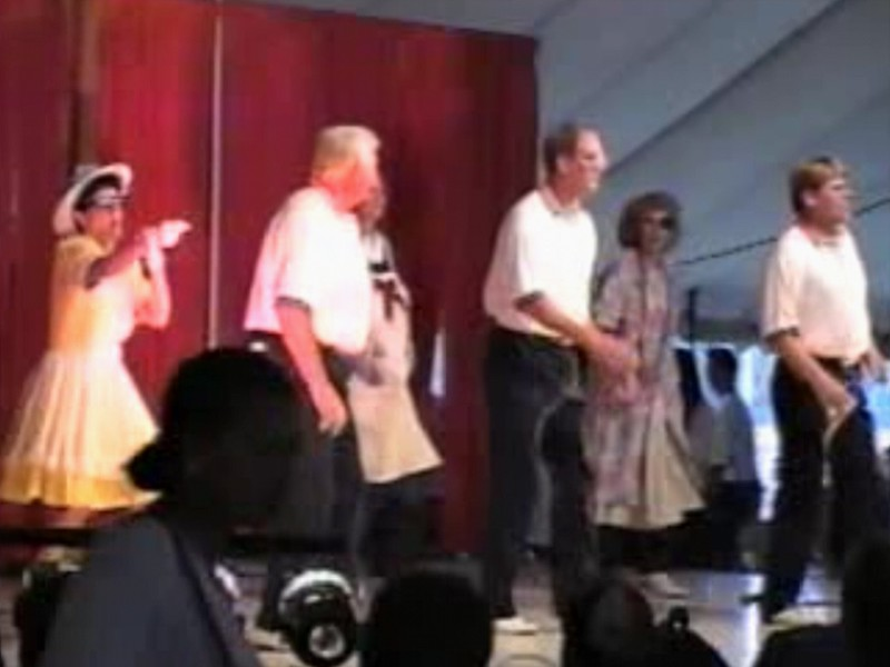"""Video Archive Clip 1997 (August 3) - Yaden Clogging - Dan (age 43, far right) dances the """"Down The Road"""" routine - Free Spirit Cloggers Performance - Twinsburg, OH - Clogging Memoirs Series (3 min 35 sec)"""