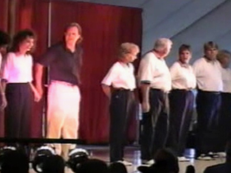"Video Archive Clip 1997 (August 3) - Yaden Clogging - Julie & Dan (both age 43) dance the ""Marty Stuart Visits The Moon"" couples routine (start out 2nd couple from the right) - Free Spirit Cloggers Performance - Twinsburg, OH - Clogging Memoirs Series (2 min 59 sec)"