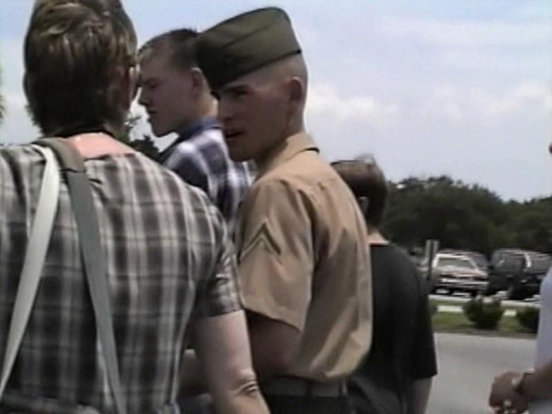 Video Archive Clip 1997 (July) - Yaden, Daniel C. Jr. - Age 19 - Danny graduates boot camp as a United States Marine; 3rd Battalion, Platoon 3062 - Part 1 of 2 - Marine Corp Recruit Depot at Parris Island - Parris Island, SC - Matthew (age 16), Jacob (age 12), Steven (age 9), Alex (age 7), Julie & Dan (both age 43) - Original VHS Series (15 min 11 sec)
