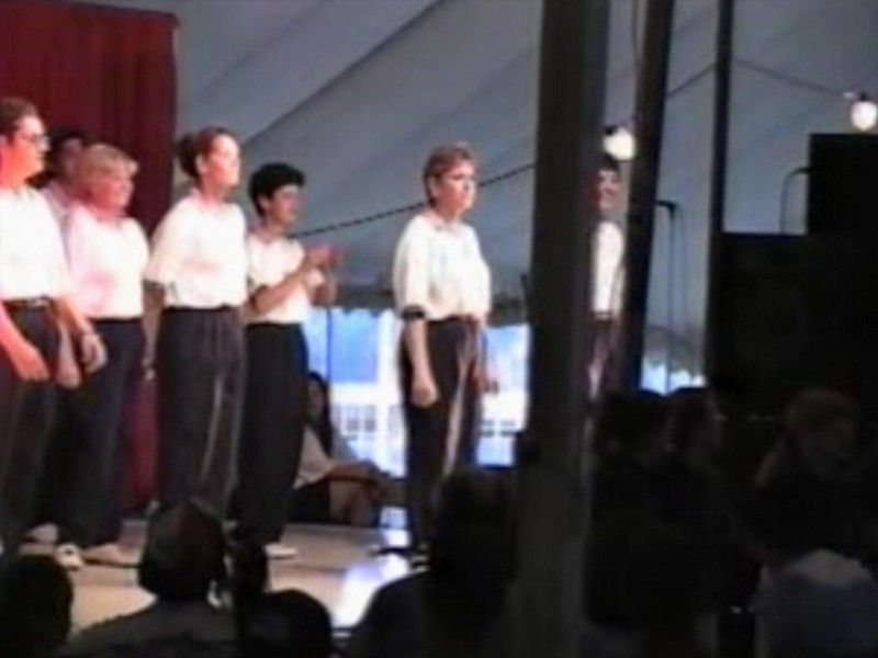 """Video Archive Clip 1997 (Aug 3) - Yaden Clogging - Julie (age 43, front row 2nd from right) dances the """"Real Good Feel Good Song"""" routine - Free Spirit Cloggers Performance - Twinsburg, OH - Clogging Memoirs Series (2 min 32 sec)"""