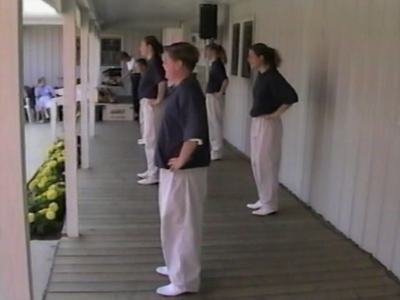 """Video Archive Clip 1997 (Oct 5) - Yaden Clogging - Jacob (age 12, front row nearest camera) and Steven (age 9, front row far end) perform the """"Maria"""" routine with the Free Spirit Cloggers - Beckwith Orchards - Kent, OH - Clogging Memoirs Series (3 min 41 sec)"""