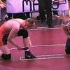 Video Archive Clip 1998 (Feb) - Yaden, Matthew J. - Age 16 - Matt (orange & brown singlet) wrestles for Mansfield Senior High School in 160 lb. weight class - Feb Match 3 - Mansfield, OH - Mixed Relations Series (2 min 8 sec)