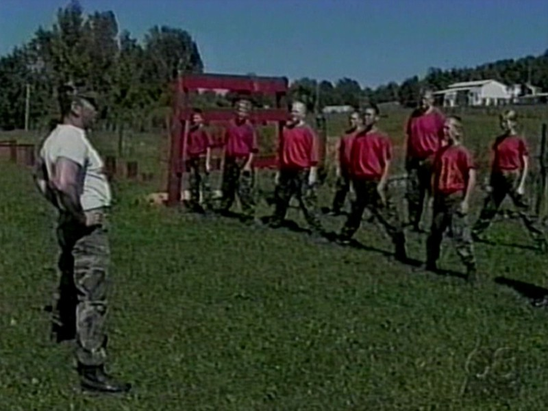 Video Archive Clip 1998 (July) - Yaden Boys - Television coverage by WMFD TV/Mansfield - Matt (age 17), Jake (age 13), and Steve (age 10) participate in boot camp activities in Platoon 3000 of The North Central Young Marines - Mansfield, OH - Original VHS Series (1 min 53 sec)<br /> <br /> The Young Marines are funded by the Marine Corps League. The organization has over 300 units in 46 states, with boys and girls ranging from age 8 to completion of high school.