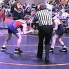 Video Archive Clip 1998 (Apr) - Yaden, Steven R. - Age 9 - Steve (red & blue) wrestles in an open tournament, with big brother Matt (age 16) as coach, big brother Jake (age 13) as personal trainer, and Mom (Julie, age 44) as fan - Mansfield, OH - Mixed Relations Series (4 min 59 sec)