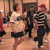 "Video Archive Clip 1999 (May 29) - Yaden Clogging - Julie (age 45, in USMC shirt), Jake (age 14, in striped shirt/red hat, with clogging friend Joey), and Steve (age 11, in red shirt) dance a couple run-throughs of the ""Pretty Fly (For a White Guy)"" routine by instructor Sherry Glass-Cox  - Memorial Day Weekend Clogging Workshop - Columbus, OH - Clogging Memoirs Series (6 min 8 sec)"