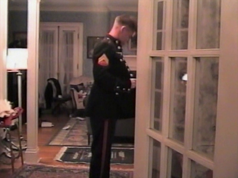 Video Archive Clip 1999 (Dec 24) - Yaden, Dan & Julie (both age 45) - Christmas Eve at the Park Avenue West home with family friend Brittany Liles (in U.S. Marine uniform) - Mansfield, OH - Dan, Jr. (age 21), Matt (age 18), Jacob (age 15), Steven (age 11), Alex (age 9) - Mixed Relations Series (11 min 11 sec)