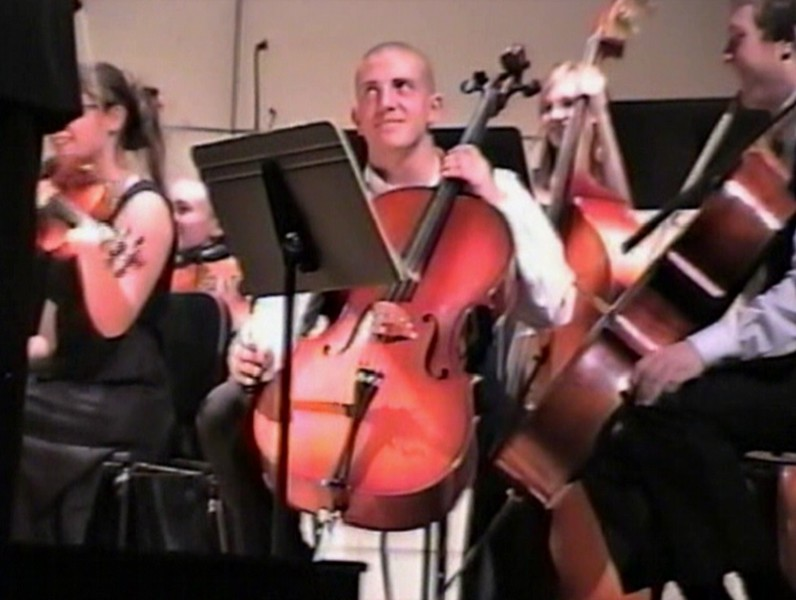 Video Archive Clip 2005 (Dec) - Yaden, Steven R. - Age 17 - Steven plays cello in the Christmas concert by the TVHS Chamber Orchestra - PART 2 OF 2 - Bob Kreutz, Orchestra Director - Thompson Valley High School Auditorium - Loveland, CO - Original VHS Series (19 min 21 sec)