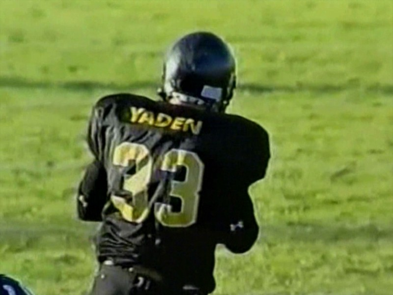 "Steve Yaden Time Warp:  4-MINUTE DRILL - THE YARDMAN <br /> <br /> Video Archive Clip 2003 to 2009 - Yaden, Steven R. - Ages 15 to 21 - The football running highlights of Steve Yaden (4 min 14 sec)<br /> <br /> 2003 to 2005 - Thompson Valley High School (Eagles) / Loveland, CO - Fullback<br /> 2006 - Midland Lutheran College (Warriors) / Fremont, NE - Fullback<br /> 2007 - Doane College (Tigers) / Crete, NE - Redshirt year<br /> 2008 & 2009 - Doane College (Tigers) / Crete, NE - Tight End<br /> <br /> <br /> Theodore Roosevelt [1858-1919] - ""In life, as in a football game, the principle to follow is:  Hit the line hard."""