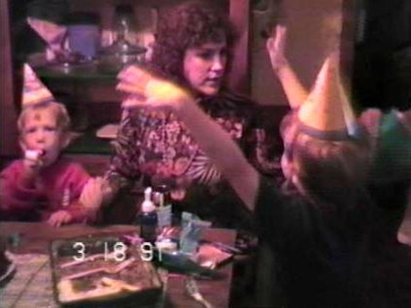 Jacob Yaden (right) - 1991 (March 18) - Age 6 - On Mom's birthday (Julie, age 37) with Steven (left, age 2) - Beaton Lake Estates Home - Corsicana, TX (Captured from VHS Video Tape)