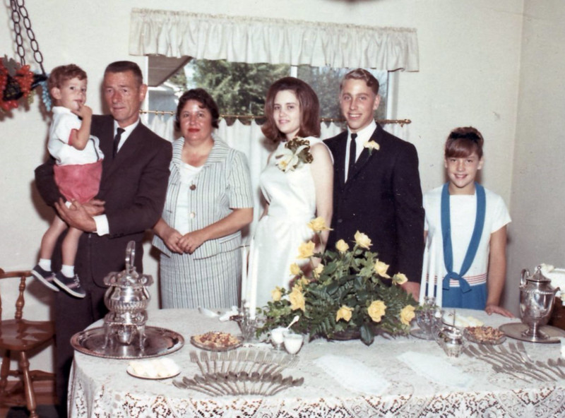 Julie Ann Schreiner (far right) - 1965 (3rd qtr) - Age 11 - With family members - Yakima, WA<br /> <br /> Others L to R:<br /> <br /> Patrick Schreiner (brother)<br /> Mark [aka Bud] Schreiner (father)<br /> Betty [Irwin] Schreiner (mother)<br /> Diane [Baumgardner] Schreiner (sister-in-law)<br /> Michael Schreiner (brother)