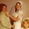 Julie (Schreiner) Yaden - August 31, 1974 - Age 20 - Wedding day photo with Betty Schreiner (mother) - Holy Redeemer Catholic Church - Yakima, WA