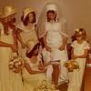 Julie Schreiner Yaden (in white wedding dress) - August 31, 1974 - Age 20 - Wedding Day Photo - With (L to R) Pauli Yaden, Diane Schreiner (standing), Debbie DaBruzzi (kneeling), and Stephanie Schreiner - Holy Redeemer Catholic Church - Yakima, WA