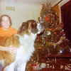 """Julie Yaden - 1976 (December) - Age 22 - With the family dog """"George"""" - Mark & Betty Schreiner Home - Yakima, WA<br /> <br /> Julie's note on back of photo:  """"George, hold still!"""""""