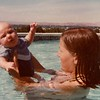Julie Yaden. - 1978 (July) - Age 24 - Cooling off with Danny (age 3 mos) - Yakima, WA