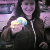 Julie Yaden - 1980 (April) - Age 26 - Displaying casualty of the Easter Egg Hunt - 7th Avenue Rental House - Yakima, WA (Captured from 8mm film)