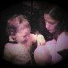 Julie Yaden - 1980 (February) - Age 25 - With Danny (age 22 mos) and baby Nicole Owen at the Selah farmhouse - Selah, WA (Captured from 8mm film)
