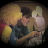 Julie Yaden - 1986 (Oct 31) - Age 32 - With Matthew (age 5, left) and Jacob (age 2) as she shows the bunny how to hold his mouth when putting on Halloween makeup - Yellow Farmhouse - Selah, WA (Captured from VHS Video Tape)