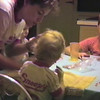 Julie Yaden - 1986 (July) - Age 32 - With Matthew (age 5, to Julie's left), Jacob (age 20 mos), and Danny (age 8) at the yellow farmhouse - Selah, WA (Captured from VHS Video Tape)