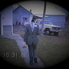 """Julie Yaden - 1986 (Oct 31) - Age 32 - At the yellow farmhouse in her """"dressed backwards"""" Ed Ferguson (manager of EPIC) Halloween costume  - Selah, WA (Captured from VHS Video Tape)"""