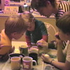 Julie Yaden - 1987 (April 18) - Age 33 - Coloring Easter eggs with Matthew (age 5, left), Jacob (age 2), and Danny (age 9 in two days) - Yellow Farmhouse - Selah, WA  (Captured from VHS Video Tape)