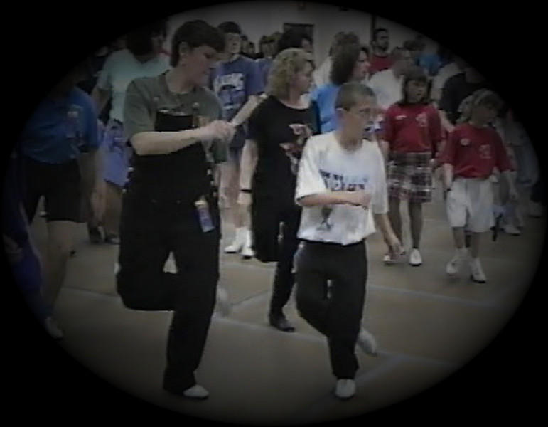 "Julie Yaden - 1998 (Apr 18) - Age 44 - Julie and Steven (age 9) dance the ""Jose Cuervo"" routine at the fun dance - Buffalo Clogging Workshop - Buffalo, NY"