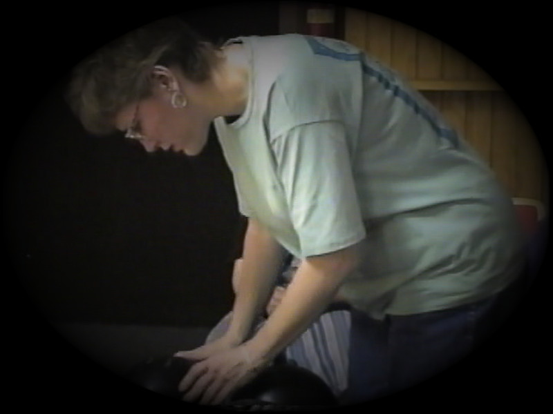 Julie Yaden - 1999 (Apr) - Age 45 - Family bowling - Mansfield, OH (Captured from VHS Video Tape)