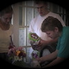 Julie Yaden - 1999 (May) - Age 45 - With Matt (age 17) and his girlfriend Brittany Liles (left) - Park Avenue West home - Mansfield, OH (Captured from VHS Video Tape)