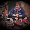 Julie Yaden - 2000 (Dec) - Age 46 - Directing the traditional Bingo game on New Year's Eve - Storm Mountain home - Drake, CO (Captured from VHS Video Tape)