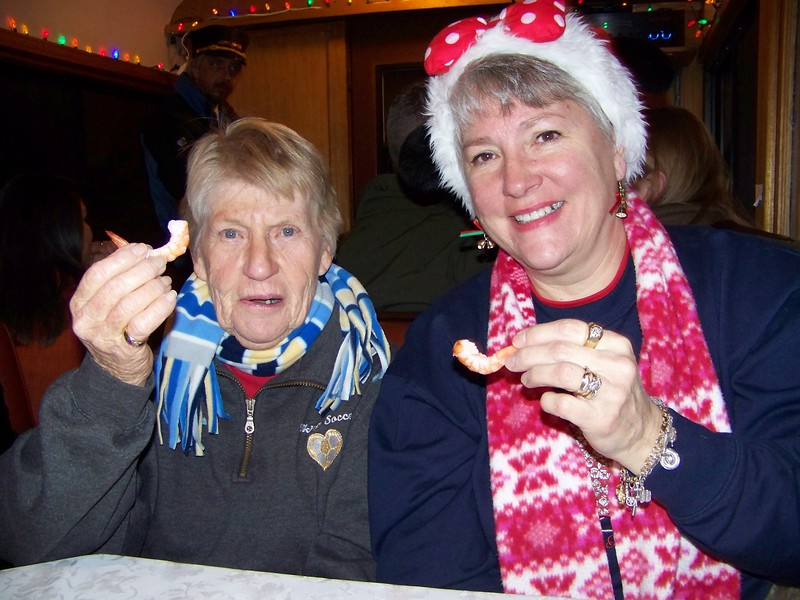 Julie Yaden (right) - 2009 (Dec) - Age 55 - With mother-in-law Betty Yaden (age 82) on the Georgetown Loop Railroad - Georgetown, CO