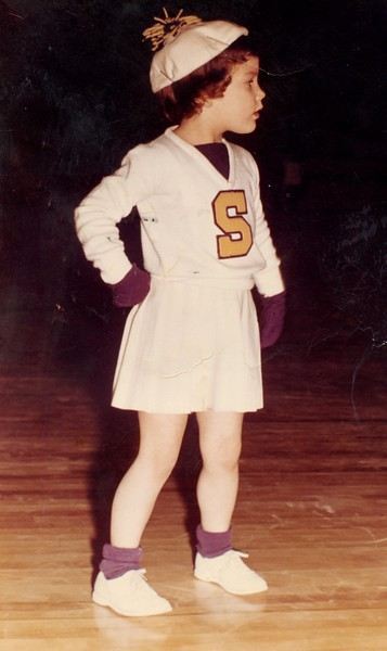 Julie Ann Schreiner - 1959 (Jan) - Age 4 - Selah High School Cheerleader Mascot - Selah Vikings 1958-59 Basketball Season - Selah, WA