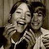 Julie Schreiner (left) with friend Sandy Macintosh - 1970 (Summer) - Age 16 - Goofing off in the bus station photo booth - Yakima, WA