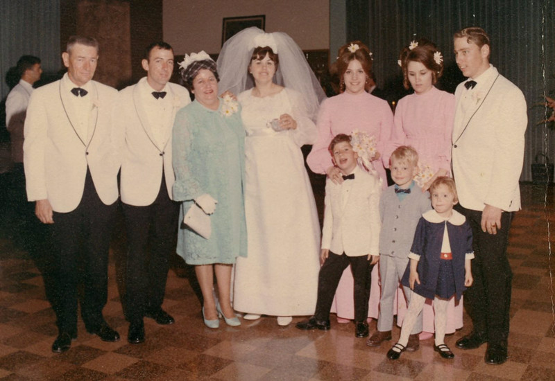 Julie Schreiner (back row, 3rd from right) - April 18, 1970 - Age 16 - At the wedding of brother Steve Schreiner and Rosemary DeSanto - Yakima, WA<br /> <br /> Adults L to R:<br /> <br /> Mark (Bud) Schreiner<br /> Steve Schreiner<br /> Betty (Irwin) Schreiner<br /> Rosemary (DeSanto) Schreiner<br /> Julie Schreiner<br /> Diane (Baumgardner) Schreiner<br /> Mike Schreiner<br /> <br /> Children L to R:<br /> <br /> Patrick Schreiner<br /> Michael Schreiner, Jr.<br /> Stephanie Schreiner