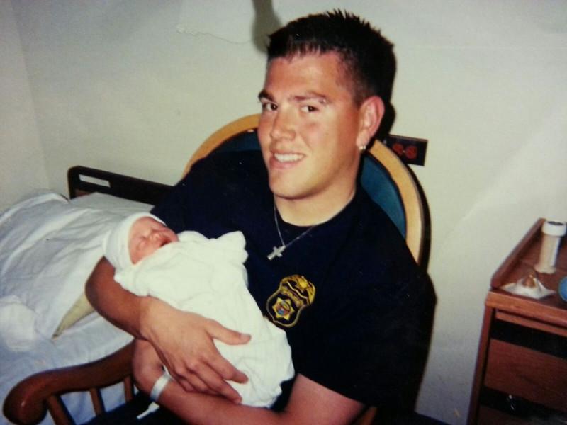Matt Yaden - Age 23 - 2004 (Dec) - In the hospital room holding newborn daughter Jaycene (born Dec 29) - Denver, CO