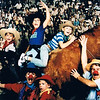 """Matthew Yaden (right, on bull) - 1989 (June) - Age 7 - Family pose with the mechanical bull at Billy Bob's Texas, """"The World's Largest Honky Tonk"""" - (L to R) Jacob (age 4), Danny (age 11), Mom (Julie, age 35), Steven (being held by Mom, age 13 mos), and Dad (Dan, age 35) - Fort Worth, TX"""