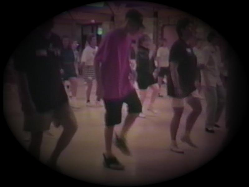 Matt Yaden (center) - 1995 (Aug) - Age 14 - Matt practices a new clogging routine next to parents Dan & Julie - Camp Clog Workshop - Slade, KY