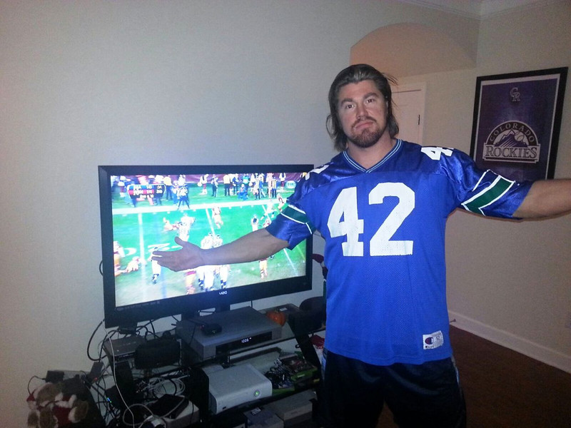 Matt Yaden - January 6, 2013 - Age 31 - From Nashville Matt is sporting the Seattle Seahawks jersey his mother bought him in 1995.  The jersey came in handy today as the Seahawks defeated the Washington Redskins in their NFL wildcard playoff game - Nashville, TN