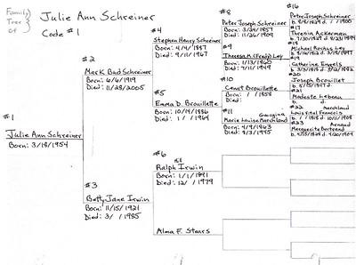 Julie Ann (Schreiner) Yaden Family Tree