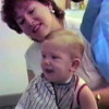 Steven Ralph Yaden - 1989 (Aug) - Age 15 mos - With Mom (Julie, age 35) during his first haircut at the Busy Bee Barber Shop - Corsicana, TX (Captured from VHS Video Tape)