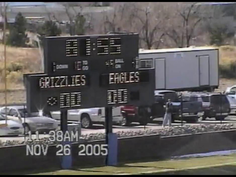 Video Archive Clip 2005 (Nov 26) - Yaden, Steven R. - Age 17 - Steve (#33, fullback, white jersey) plays varsity football for Thompson Valley High School - Class 4A Semifinal State Playoffs - Thompson Valley Eagles vs ThunderRidge Grizzlies at ThunderRidge - Highlands Ranch, CO - Original VHS Series (19 min 25 sec)<br /> <br /> Note: In 2005 the Thompson Valley Eagles captured their first Northern Conference title in 16 years under head coach Clint Fick. They advanced to the Semifinal State Playoffs where they were defeated by the ThunderRidge Grizzlies.