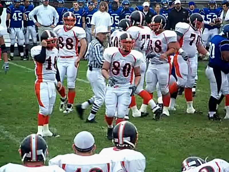 Video Archive Clip 2008 (Oct 11) - Yaden, Steven R. - Age 20 - Steven (#80, white jersey, tight end) plays football for the Doane Tigers (Junior year) - Matt Franzen, Head Coach - Doane College (Tigers) of Crete, NE vs Dakota Wesleyan University of Mitchell, SD - Joe Quintal Field at Dakota Wesleyan University - Original Footage (11 min 52 sec)