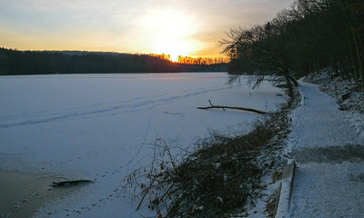 Sunrise Over Hinckley Lake, Hinckley Reservation, Christmas Eve Trail Run, 2009.