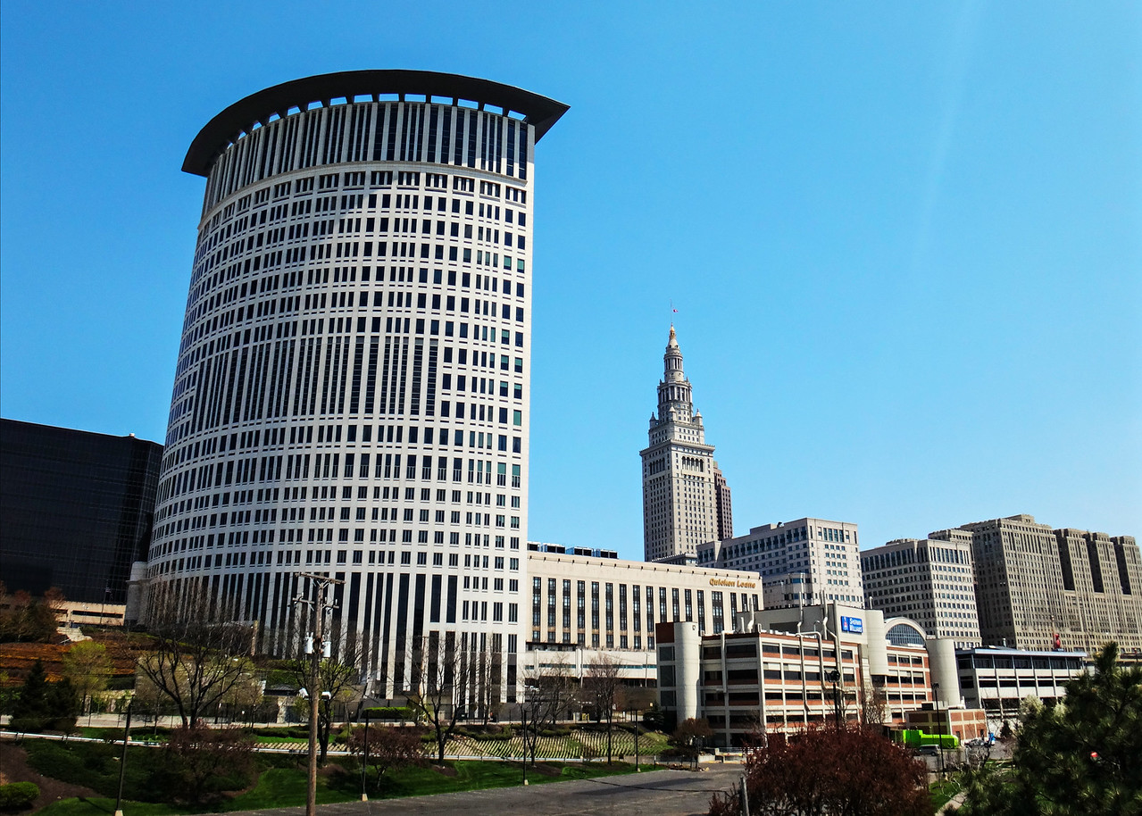Cleveland Skyline from the Towpath, Spontaneous 50 Mile Towpath Trail Ride, May 2015.