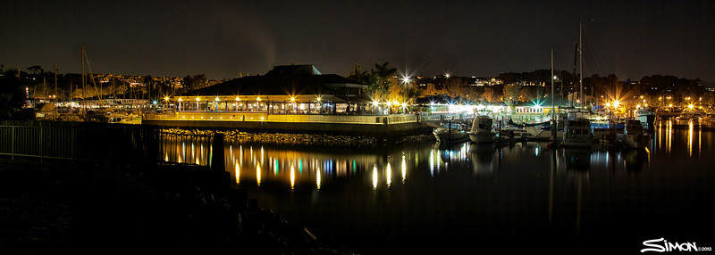 Dana Point Harbor at night