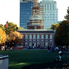 View of Independence Hall during renovations a number of years ago. This visit was prior to the building of the new Liberty Bell pavilion, which today would be seen to the right in this photo. Independence Hall can be better seen from the pavilion as the tower stands against the open sky and not tall buildings.