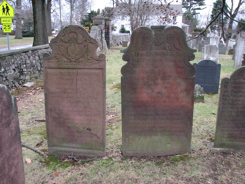The gravestones of Gen. Silliman on the left and his wife on the right