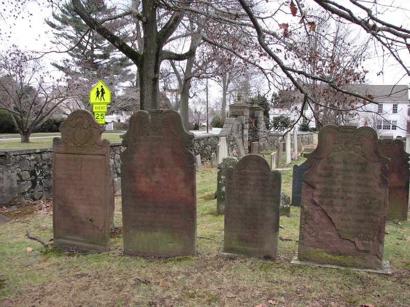 Gen. Silliman's gravestone is on the left. Use this photo to locate the grave. Enter the cemetery via the main gate, seen in the background, turn right immediately and walk about 50 feet to the grave.