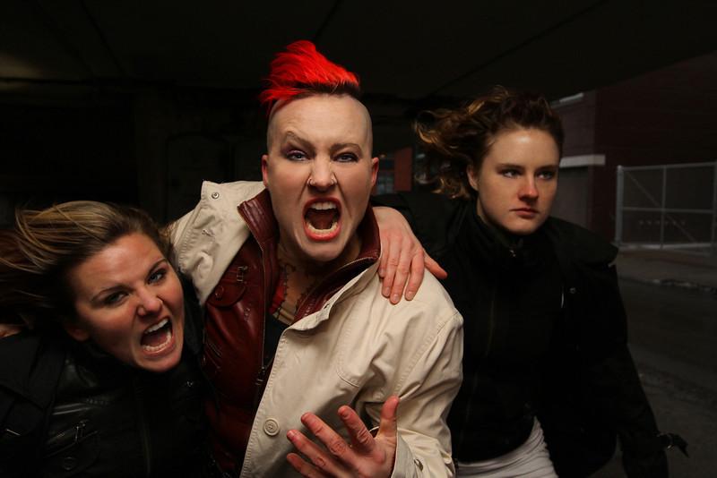 Melissa Ganser, Atalee Judy & Megan Klein for bully.punk.riot. shoot. Photo by Carl Wiedemann