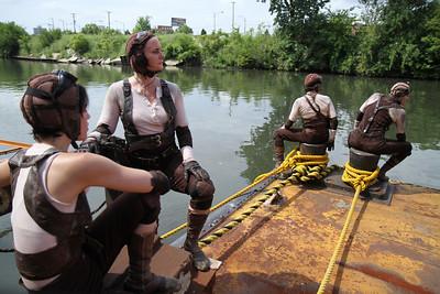 Breakbone on rusting barge - 2010