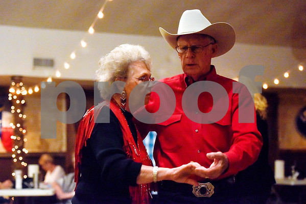 Lil Nolin and Bill Clarke dance at Edom City Limits Opry House and Dance Hall in Edom, Texas, on Tuesday, Nov. 7, 2017. The dance hall has hosted live music and two stepping every Tuesday night for seven years, drawing people from all across Northeast Texas. (Chelsea Purgahn/Tyler Morning Telegraph)